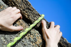 Climbers hands Stock Photos