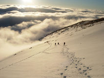 Climbers in High Tatras. Group of climbers on a route in High Tatras Royalty Free Stock Photo