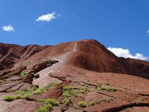 Climbers ignore the no climbing sign. Uluru, Northern Territory, Australia 02/22/18. Climbers ignore the no climbing sign at the base of the rock stock photo