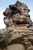 Climbers on Krkavci kameny rocks in Luzicke hory mountains Royalty Free Stock Image