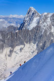 Climbers on the Mont Blanc massif Royalty Free Stock Images
