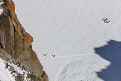 Climbers on the Mont Blanc massif Stock Photography