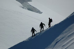 Climbers on Mount Blanc. In the French Alps Stock Photography