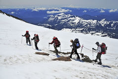 Climbers on Mount Rainier, Washington Royalty Free Stock Images
