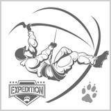 Climbers and Mountain climbing emblem Royalty Free Stock Photography