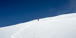 Climbers at the mountain summit in scenic Tian Shan Stock Photography