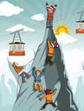 Climbers on the mountain top. Vector illustration of the climbers on the mountain top (extreme sports&#x29 Stock Image