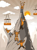 Climbers on the mountain top. Vector illustration of the climbers on the mountain top (extreme sports Stock Photography