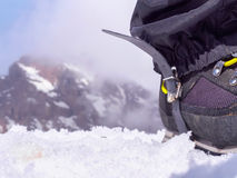Climbers at the mountains. Boot of climber sportsmen hiking to the mountain peak Stock Images