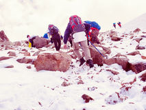 Climbers at the mountains. Group of climbers sportsmen hiking to the mountain peak Stock Images