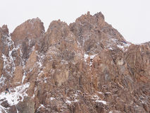 Climbers at the mountains. Group of climbers sportsmen hiking to the mountain peak Royalty Free Stock Photography