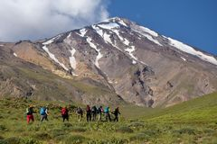 Damavand and Climbers royalty free stock photography