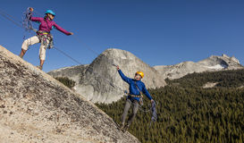Climbers nearing  the summit. Stock Photos