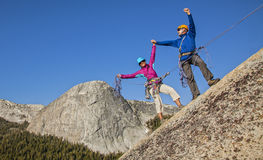 Climbers nearing  the summit. Royalty Free Stock Photos