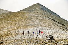 Climbers on Olympus mountain royalty free stock photography