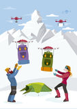 Climbers Receive Backpacks by Drones Royalty Free Stock Photography