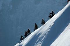 Climbers on ridge Royalty Free Stock Image