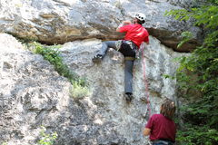 Climbers on rock Stock Photography