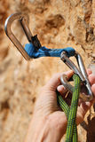 A climbers rope and quick-draws Stock Photography