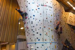 Climbing Wall in Canmore Elevation Place Recreation Facility Stock Photography