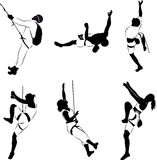 Climbers silhouettes. Vector of six climbers silhouettes Royalty Free Stock Photography