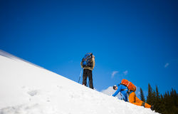 Climbers on a snow slope. Stock Photography