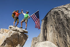 Climbers on the summit. Stock Photo