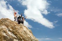 Climbers on summit stock photo