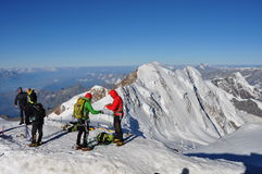 Climbers on the summit of Mount Rosa Stock Images