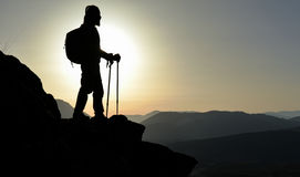 Climbers on summit Royalty Free Stock Image