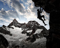 Climbers. In the Swiss Alps royalty free stock photos