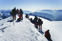 Climbers on top of Mt Blanc Royalty Free Stock Photos
