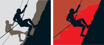 Climbers. Two drawings of climbers or icons vector illustration