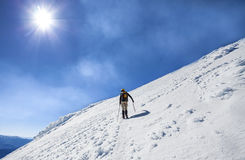 Climbers on the way to the top of an active volcano. Active volcano Villarica in Chile Stock Photography