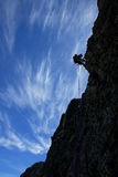 Climbing. Making a rappel in cresta crabioules, Pirineos, france Royalty Free Stock Images