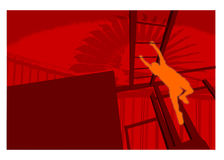 Climbing. Red and orange composition with a silhouette climbing a ladder royalty free illustration