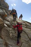 Climbing. On italian alps, Piemonte region Stock Image