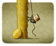 Climbing A Stack Of Coins Royalty Free Stock Photography
