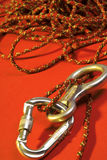 Climbing accessories. Carabiner, eight and rope - climbing accessories Royalty Free Stock Photos