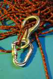 Climbing accessories. Carabiner, eight and rope - climbing accessories Royalty Free Stock Images