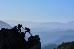 Climbing activities and summit success. Mountaineering activities.climbing activities and summit success royalty free stock image