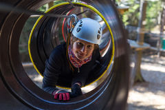 Climbing in adventure park Stock Photography