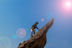 Climbing the amazing rock Stock Photography