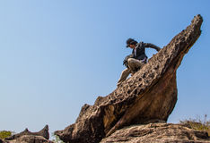 Climbing the amazing rock Royalty Free Stock Photo