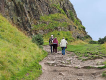 Climbing Arthur`s Seat, Edinburgh Royalty Free Stock Images