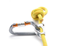 Climbing ascender, rope, carabiner, knot isolated on white. Clim Stock Photo