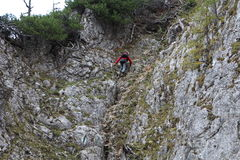 Climbing in Bärenlochsteig in Raxalpe Stock Photography