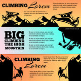 Climbing banners collection with black silhouettes royalty free illustration