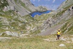 Climbing in Belledonne mountain range Stock Photo