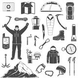Climbing black icons set Stock Photography